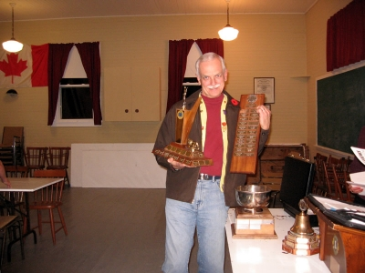 PKL Duncan MacIsaac with the District Best Road Sign, Best Runner-Up Club and Best Runner-Up President Trophies for 2006-2007