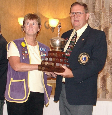 President Pat parks accepting Best Club Trophy District N2 2009-10 from PCC Bob Lyle