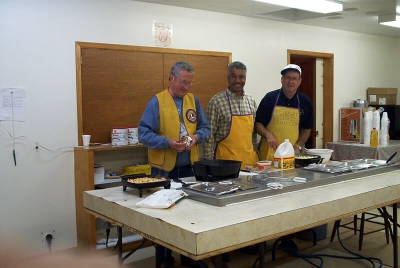 Lions Breakfast - Lions Reg-Angus-Jim preparing for monthly breakfast