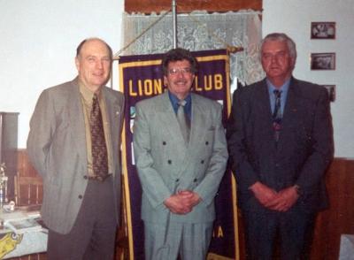 18th Charter Anniversary Kings County Councilor John Fuller, Hantsport Mayor Wayne Folker and King Lion Laurice Mitton.