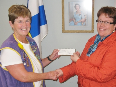 President Patricia Parks presenting a cheque to Karrie Balsor, Director Recreation & Community Development, Town of Hantsport for SplashPad Project for playground Hantsport Memorial Community Centre