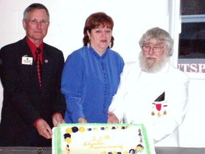 PID Jim Sherry, President Dallas Moore, DG Peter Wallis, Hantsport 25th Charter Night