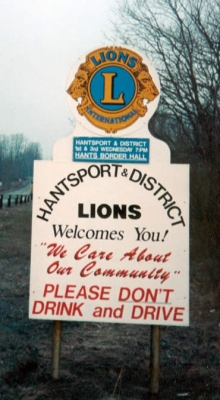 Hantsport & District Lions Club Road Sign